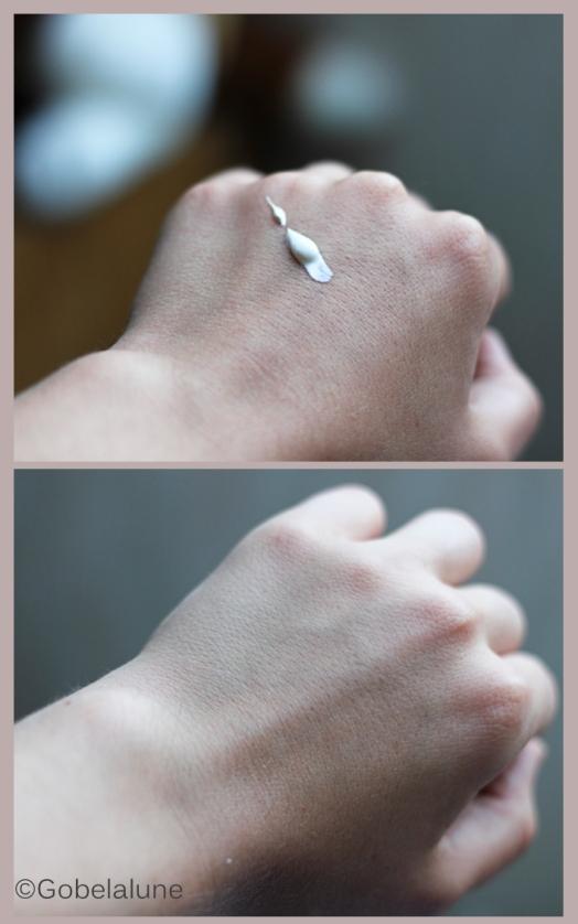 Et voilà le petit swatch pour vous montrer à quel point cette crème est cool : zéro trace blanche et la peau douce !