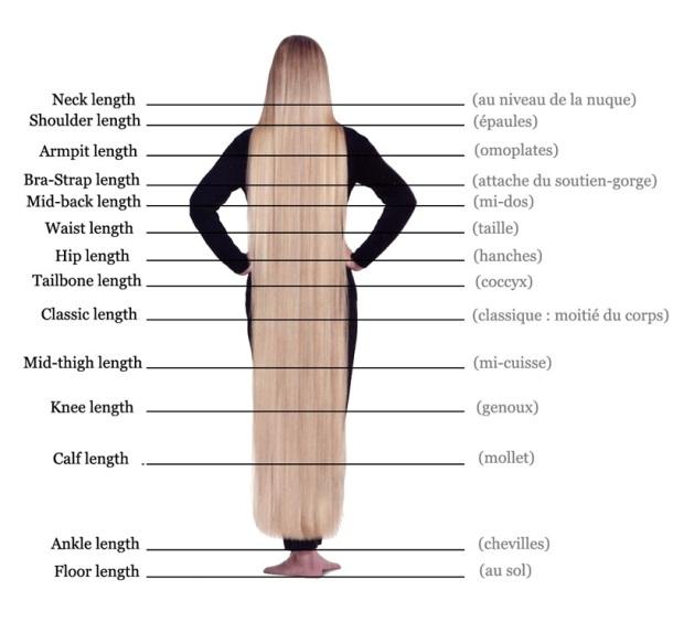 Voilà la charte internationale des longueurs : au lieu de parler en centimètres, on parle en repères corporelles, c'est plus édifiant :)